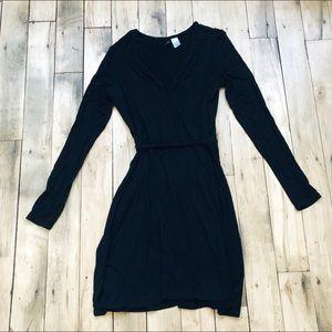 Black Long Sleeve Wrap Dress H&M